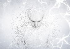 White network against man shaped binary code and white background. Digital composite of White network against man shaped binary code and white background Royalty Free Stock Photos