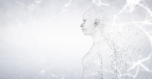 White network against woman shaped binary code and white background. Digital composite of White network against woman shaped binary code and white background Stock Image