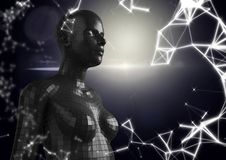 White network and black female AI against dark background and flare Stock Photo