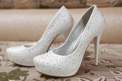 White new shoes of the bride Stock Image