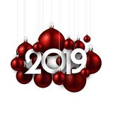 White festive 2019 new year card with red Christmas balls. White 2019 new year background with red Christmas balls. Festive shiny decoration. Greeting card stock illustration