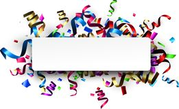 White holiday banner with colorful serpentine. White New Year banner with colorful paper serpentine. Vector illustration Royalty Free Stock Photography