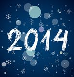White new year 2014 on blue background. White new year 2014 in sketch style on blue background. Vector illustration Stock Photo