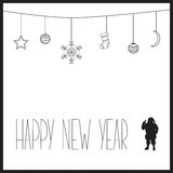 White New Year card with black text and silhouette of Santa Claus. vector illustration Stock Photography