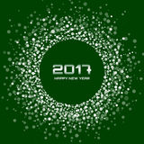 White New Year 2017 circle frame on dark green Background. White Bright New Year 2017 circle border design on dark green Background. Light white confetti circle stock illustration