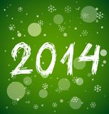 White new year 2014 on green background. White new year 2014 in sketch style on green background. Vector illustration Stock Images