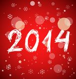 White new year 2014 on red background. White new year 2014 in sketch style on red background. Vector illustration Royalty Free Stock Images