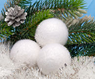 White New Year's balls.Christmas still life Royalty Free Stock Photos