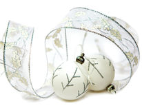 White New Year's balls and decorative tinsel Stock Photo