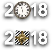 White 2018 new year signs. White 2018 new year signs with golden clock and gift box. Vector illustration Stock Images