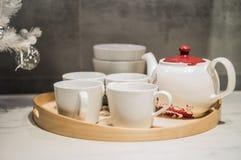 White nice tea set Stock Image