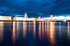 White night above the Neva river. Warm June night, frozen water, water, river Stock Images