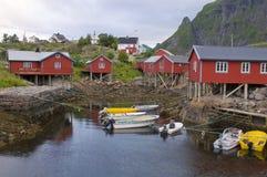 White night in fishing village on Norwegian fjord Stock Images