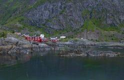 White night in fishing village on Norwegian fjord Royalty Free Stock Photo