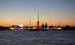 White night laser show. White nights laser show on Neva river in St.Petersburg, Russia Royalty Free Stock Photography