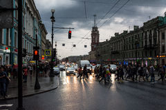White Night, night traffic on Nevsky Prospect Stock Photos