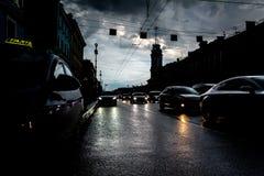 White Night, night traffic on Nevsky Prospect Royalty Free Stock Image
