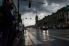White Night, night traffic on Nevsky Prospect Stock Photo
