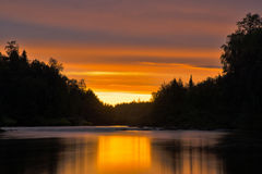 White Night on the River Pana. Kola Peninsula. Pana River. Royalty Free Stock Photography