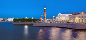 The white night in St. Petersburg, Vasilyevsky island embankment. Beautiful night landscape of historic center of the capital of Russia Royalty Free Stock Photography