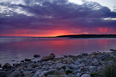 White night, sunset over the sea. Russia, the Solovetsky Islands, White sea Stock Photo