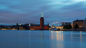 `white night` view of the City Hall in the Old Town in Stockholm, Sweden Royalty Free Stock Photos