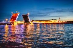 White night view on drawbridge Neva river Saint-Petersburg. White night view on drawbridge big palace vasilievsky island Neva river Saint-Petersburg Stock Image