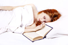 White Nightie Lying Girl In The Bed Near Book Royalty Free Stock Images