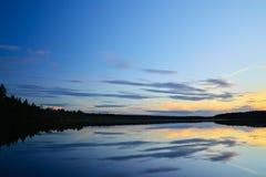 White nights on the lake Pongoma. Karelia, Russia Stock Image
