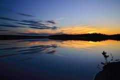 White nights on the lake Pongoma. Karelia, Russia Royalty Free Stock Photography