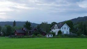 White nights at midnight, village near Oslo, Norway, timelapse, 4k stock video footage