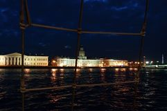 White Nights in Saint Petersburg through a ship net Royalty Free Stock Images