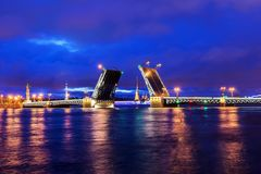 White Nights in St Petersburg. Divorced Palace Bridge Stock Photo