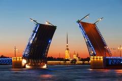 White nights in St. Petersburg. Divorced Palace bridge Stock Photos