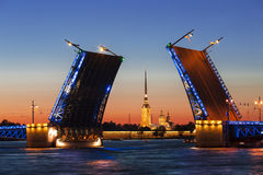 White nights in St. Petersburg. Divorced Palace bridge Royalty Free Stock Photos