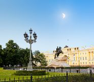 White nights in St. Petersburg.  Monument to Peter the Great at Moonlight night Royalty Free Stock Image