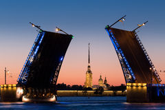 White Nights in St. Petersburg. Night St .Petersburg, Russia , Palace Bridge and Peter and Paul Fortress Royalty Free Stock Images