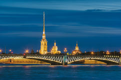 The White Nights in St.-Petersburg, Russia. Trinity (Troitsky) Bridge and Cathedral of Saints Peter and Paul. The White Nights in St.-Petersburg, Russia Stock Photography