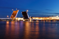 White nights. View of Neva river and raised Palace Bridge in St.Petersburg, Russia. Royalty Free Stock Images