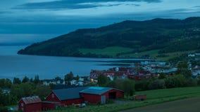 White nights in village Leksvik, Norway 4k time lase footage. stock footage
