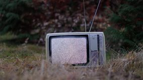 TV no signal in grass. White noise on analogue TV set in outdoor environment stock video
