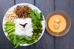 White Noodles with Fish Curry Sauce Stock Images