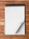 White Note Book Blank Page on Wood Vertical Royalty Free Stock Images