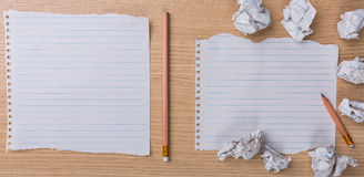 White note book paper with  pencil and crumpled on Royalty Free Stock Photos