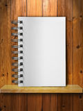 White Note Book on Wood Stock Image