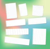 White note, notebook, copybook paper strips and sheets stuck on colorful bright gradiant background Royalty Free Stock Photography