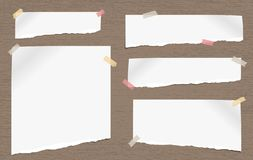 White note, notebook torn paper pieces with torn edges stuck on gray spotted backgroud. Vector illustration. Stock Illustration