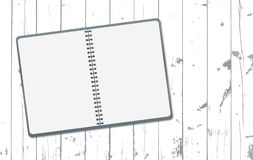 White note, notebook is on wooden planks or table top, desk surface. Wood texture. Vector illustration. White note, notebook is on wooden planks or table top royalty free illustration