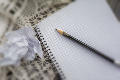 White note pad and pencil on table Stock Photos