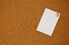 White note paper on cork board Stock Photos